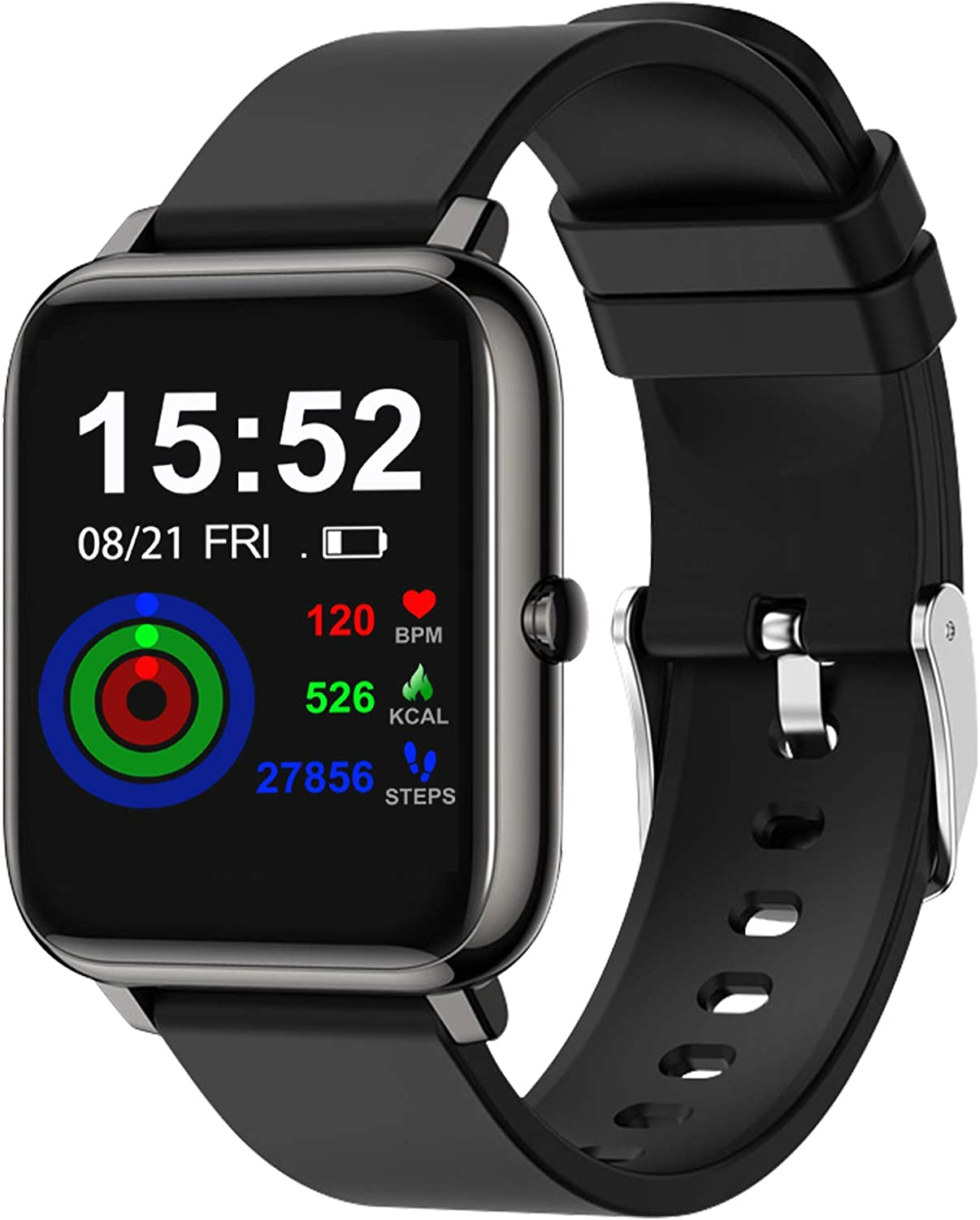 """Smart Watch for Android iOS Phones Compatible iPhone Smartwatch for Women Men Touch Screen Fitness Tracker with Heart Rate Step Calorie Counter Sleep Monitor IP68 Waterproof Pedometer with 1.4"""" Black"""