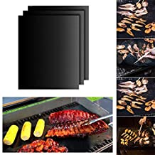 BBQ Grill Mat Set of 3 Heavy Duty Non-Stick Reusable Grill Pad for Gas,Charcoal,Electric Grill(16 X 13 Inch)