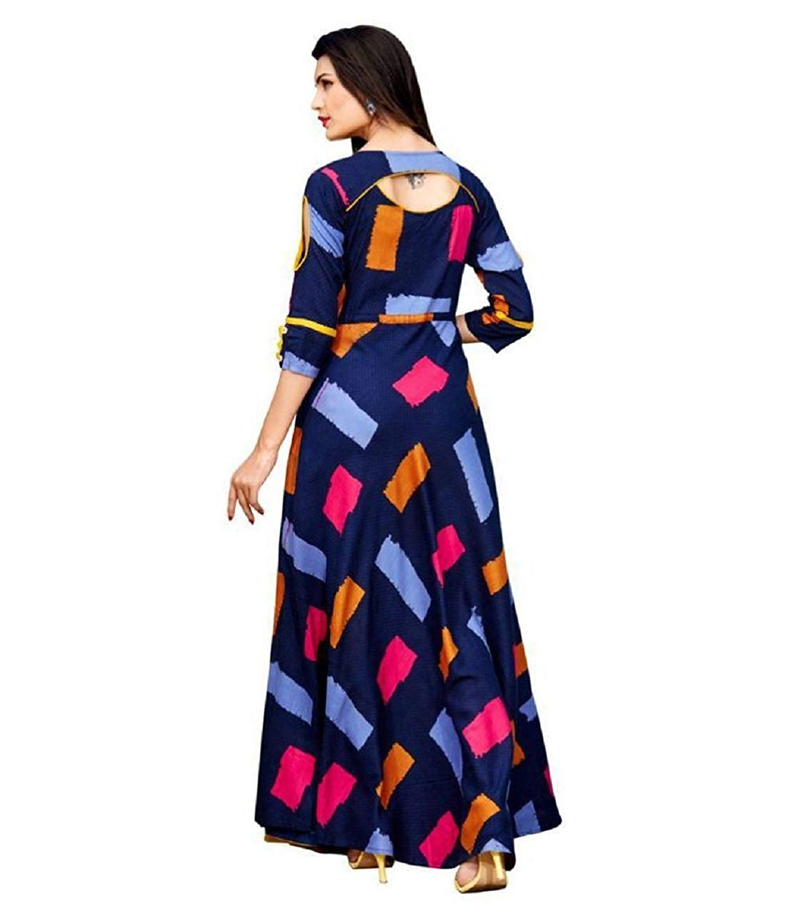 6e1c6b563c2eb Florely Women s Blue Reyon Digital Print Indo-Western party wear Gown   Amazon.in  Clothing   Accessories