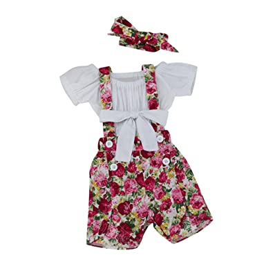 9dbf228fed36 sunnymi for 1-4 Years Old Kids Fashion Cute Newborn Infant Baby Girls Off  Shoulder Tops T Shirt+Floral Shorts Pants Outfit Set  Amazon.co.uk  Clothing