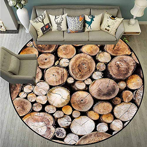 Living Room Area Round Rugs,Rustic,Wooden Logs Oak Tree,All Season Universal,4'3