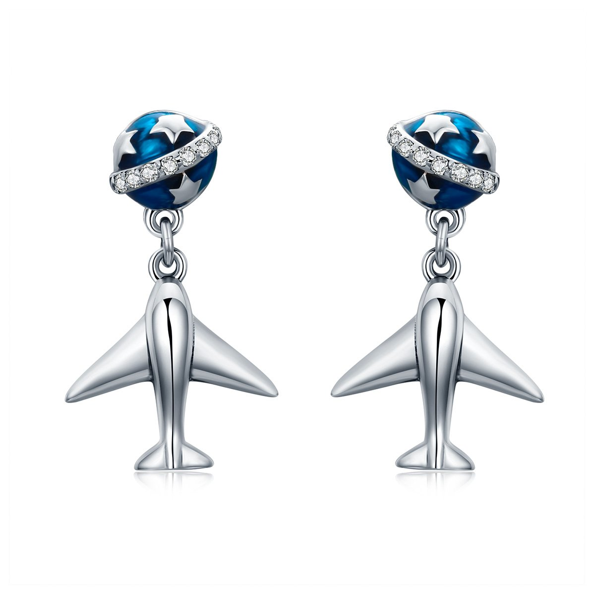 WOSTU 925 Sterling Silver Plane and Earth Travel Earrings ''Enjoy Life'' Dangle Drop Earrings for Girls