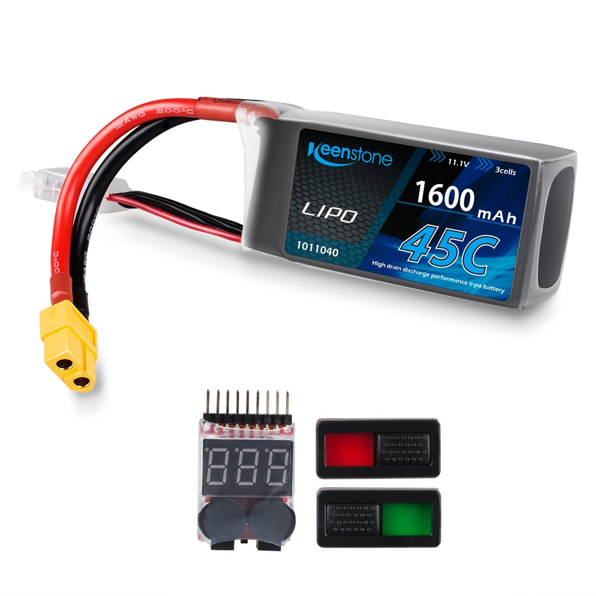 Keenstone 3S LiPo Battery 45C 1600mAh 11.1V w/ XT60 Plug Voltage Meter & Battery Power Indicator for RC Boat Heli Airplane UAV Drone FPV