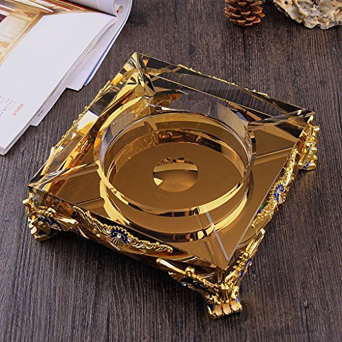 Home Ashtray Crystal Glass Cigarettes Windproof Living Room Coffee Table Multi-function Indoor And Outdoor Ashtray ( Size : 18CM ) by LTM Ashtray