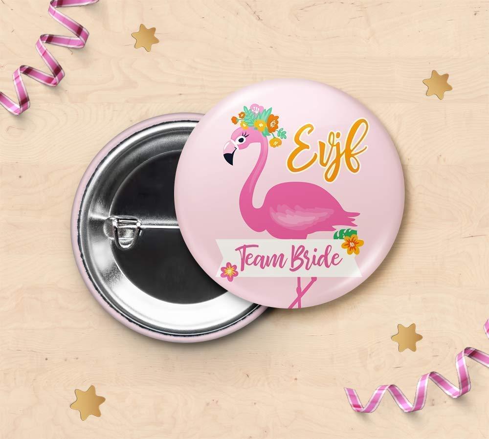 Badge pour EVJF - Equipe de la mariée - Flamant rose, Tropical