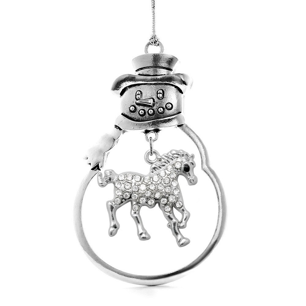 Inspired Silver 2.0 Carat Galloping Horse Snowman Holiday Christmas Tree Ornament