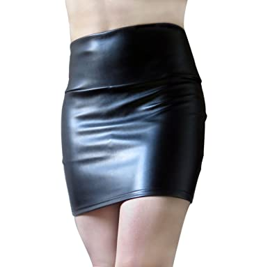 967a0ee92082 Image Unavailable. Image not available for. Color: Faux Leather Skirt For  Women Sexy Stretchy Mini ...