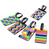 yueton 5pcs Colorful Tetris Pattern Rubber ID Tags Business Card Holder for Luggage Baggage Travel Identifier, Suitcase Label