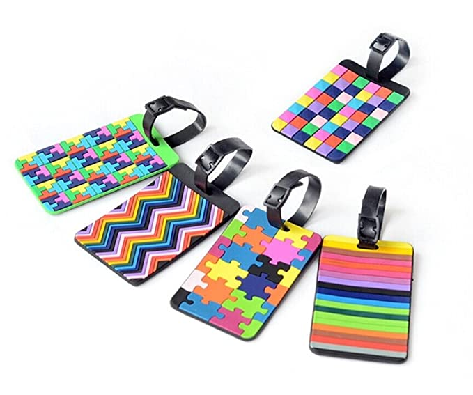 Amazon Yueton 5pcs Colorful Tetris Pattern Rubber Id Tags
