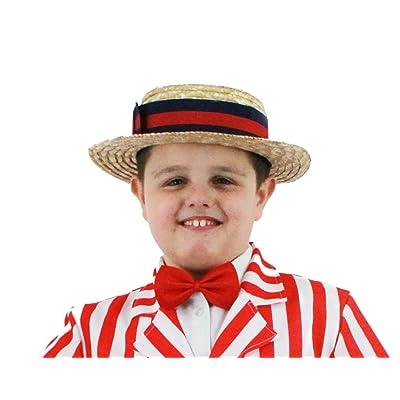 Chapeau de canotier en paille avec un ruban bleue et rouge pour enfant. Ideal pour avoir l'élégance en été.