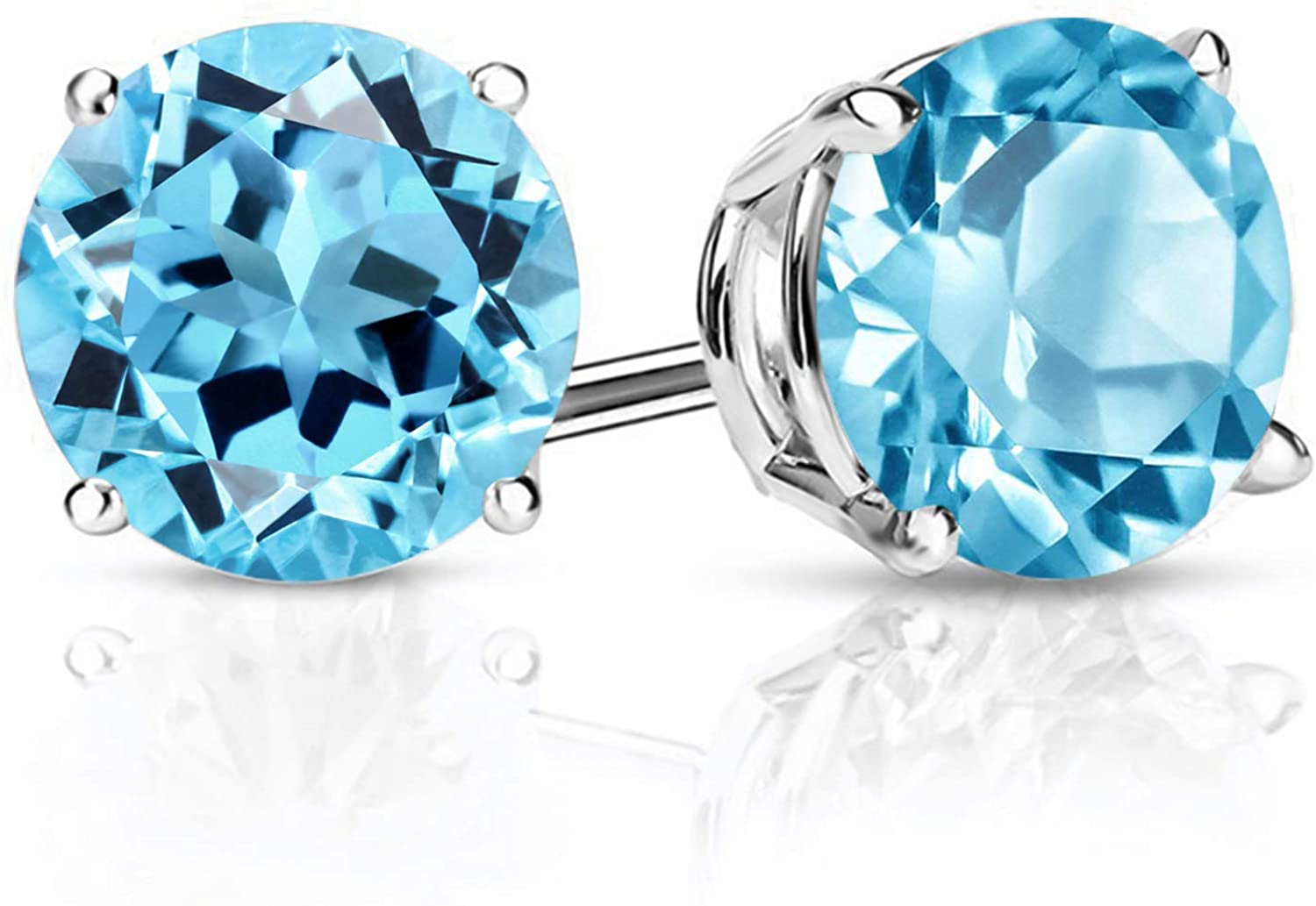 Earrings Swiss Blue Topaz Genuine Natural Gems Sterling Silver and Lab Diamond