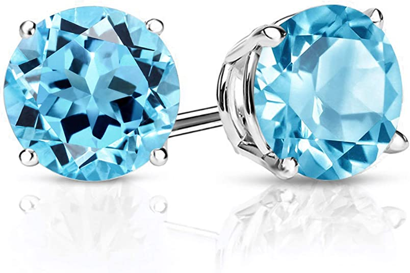 Details about  /Blue Topaz Heart Earrings Stud Solid Yellow Gold Studs Smooth Set Natural Stone