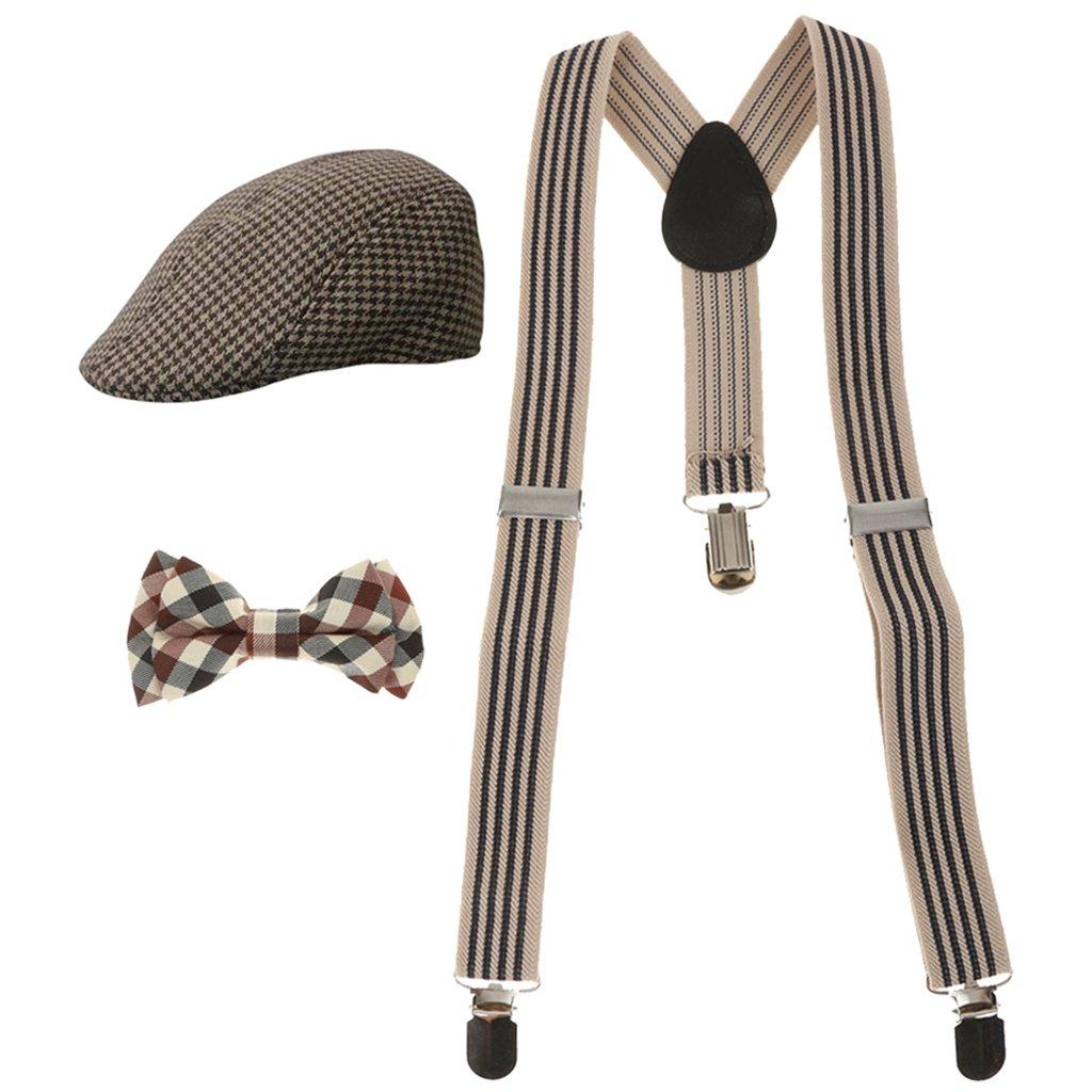 MagiDeal Fashion Kids Boys Stretchble Y-back Suspender Bowtie +Beret Cap Flat Hat Set STK0119372373