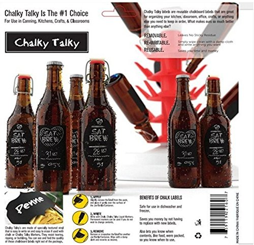 Chalky Talky 36 Reusable Personalized Beer Bottle Adhesive Labels for Home Brewing - Hand Printable Labels Waterproof by Chalky Talky Chalkboard Beer Bottle Labels (Image #5)