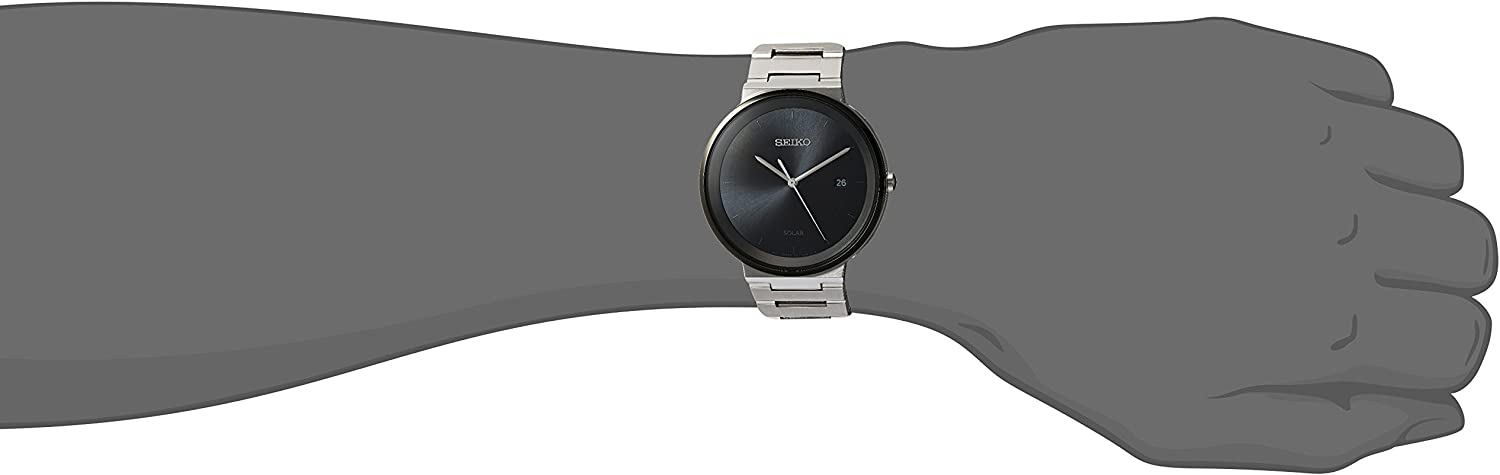 Seiko Mens Dress Japanese-Quartz Watch with Stainless-Steel Strap, Silver, 20 Model SNE479