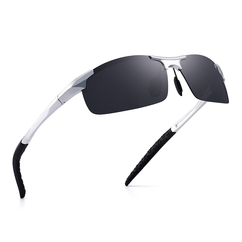 JIM HALO Sports Polarized Al-Mg Sunglasses for Men Metal Spring Hinge Glasses