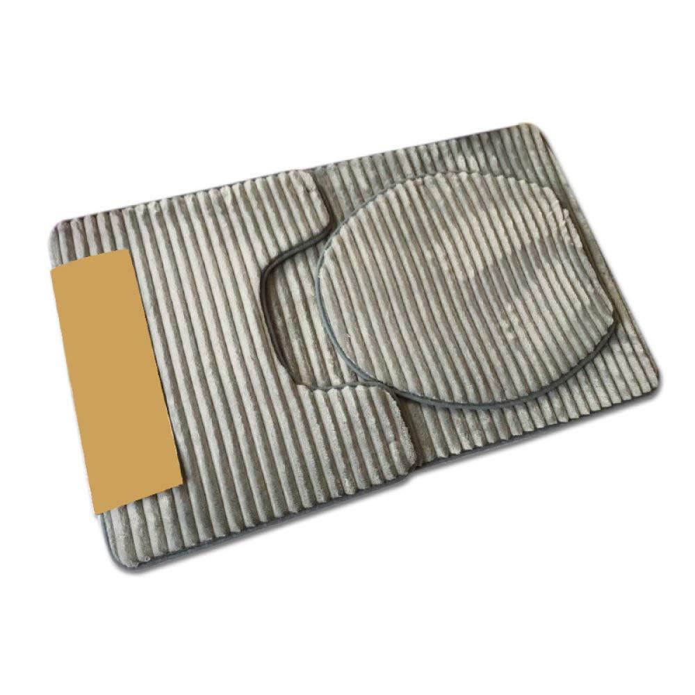 YHIJH Home Badezimmer-WC dreiteilige Bodenmatte, Badset schwammabsorbierende Matte, 3-teiliger Teppich (Farbe   E, Größe   50  80CM) B07PWZKXWD Duschmatten