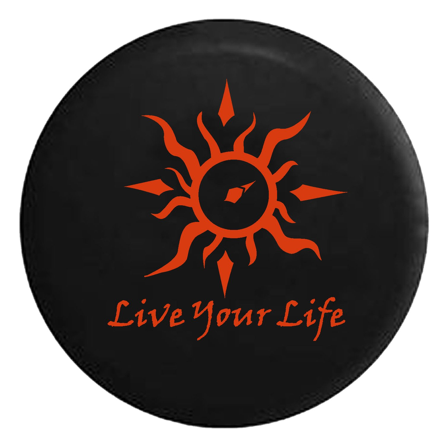 Live Your Life Tribal Sun Compass Spare Jeep Wrangler Camper SUV Tire Cover Orange Ink 32 in Silver Back Covers