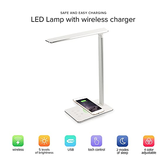 Led Desk Lamp With Qi Wireless Charger Pad Ytech Qi Wireless Charger Desk Lamp For