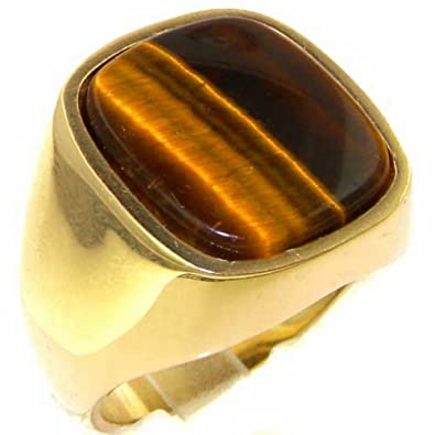 Luxury 9ct Yellow Gold Mens Cushion Cut Tigers Eye Signet