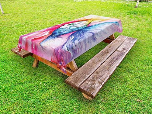 Ambesonne Fish Outdoor Tablecloth, Watercolor Fish Paint with Grunge Vivid Brushstrokes and Splashes Nautical Concept, Decorative Washable Picnic Table Cloth, 58