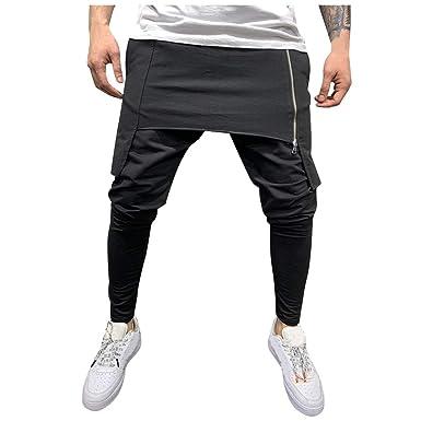 Pantalones Hombre Largo Verano Cintura Elastica Cremallera Doble ...