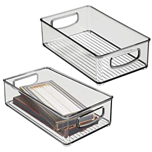 "mDesign Stackable Plastic Home Office Storage Organizer Container with Handles for Cabinets, Drawers, Desks, Workspace - BPA Free - for Pencils, Highlighters, Notebooks - 6"" Wide, 2 Pack - Smoke Gray"
