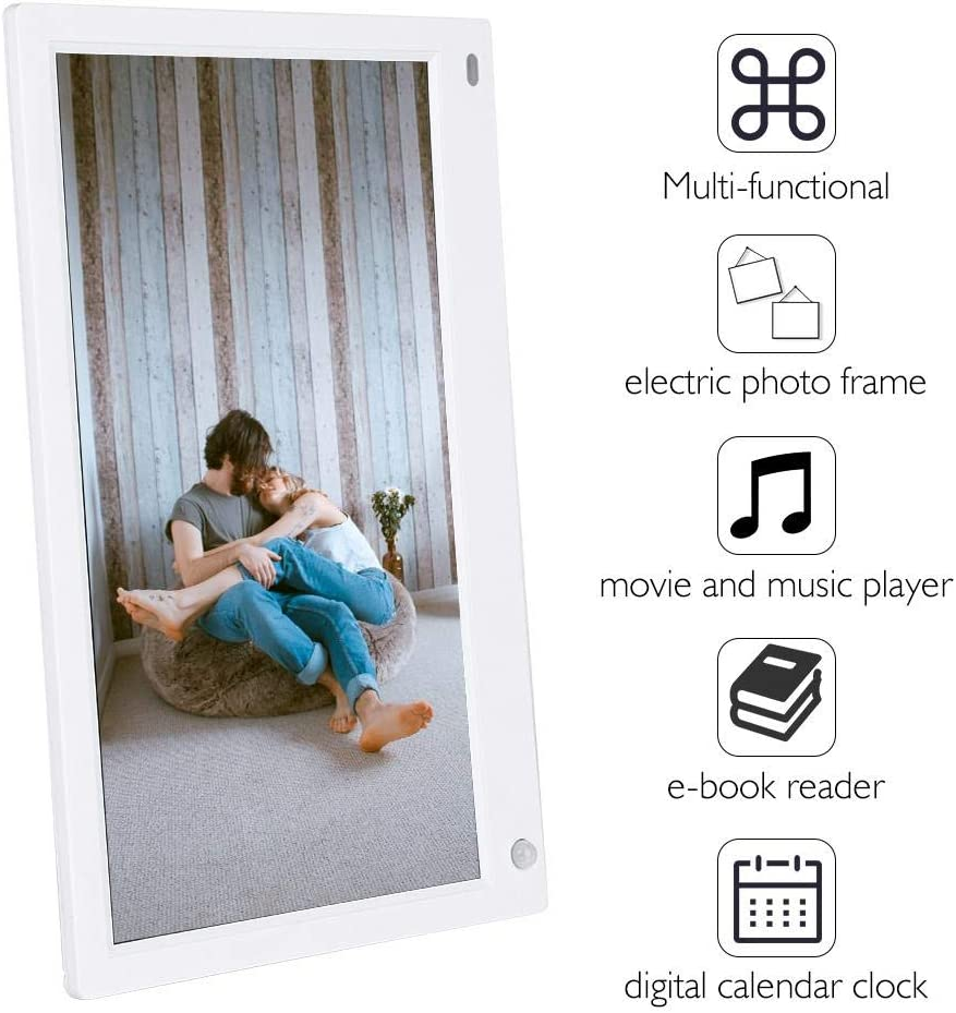 Great Gift White Bewinner 12.5 Widescreen Digital Photo Frame 19201080 High Resolution HDMI 1080P 16:9 FHD IPS Screen Multi-Function Motion Sensor Digital Picture Frame with Remote Control