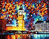 (US) Tonzom Paint by Numbers Kit 16x20 inches Diy Oil Painting with Acrylic Pigment Unique Gift for Adults - London Big Ben (Without Frame)