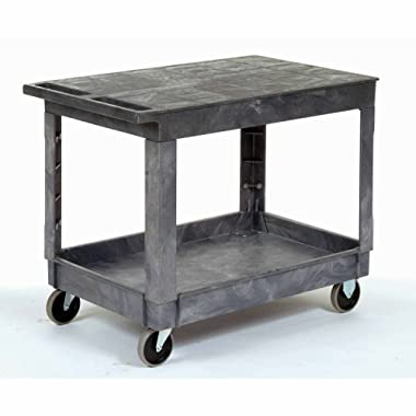 Plastic Flat Top Shelf Service & Utility Cart - 5 Inch Rubber Casters