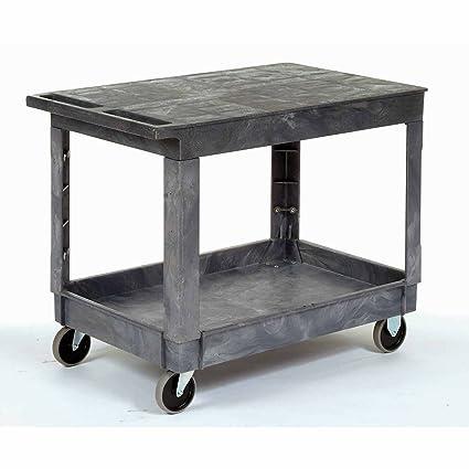 Plastic Flat Top Shelf Service U0026 Utility Cart   5 Inch Rubber Casters