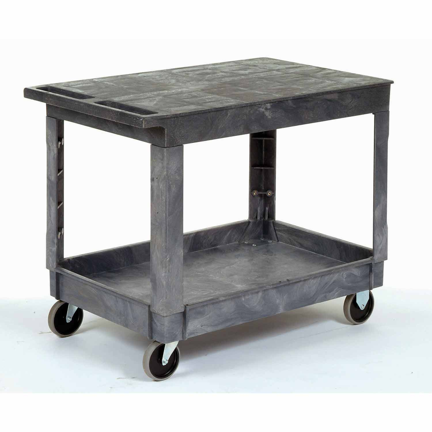 Plastic Flat Top Shelf Service & Utility Cart - 5 Inch Rubber Casters