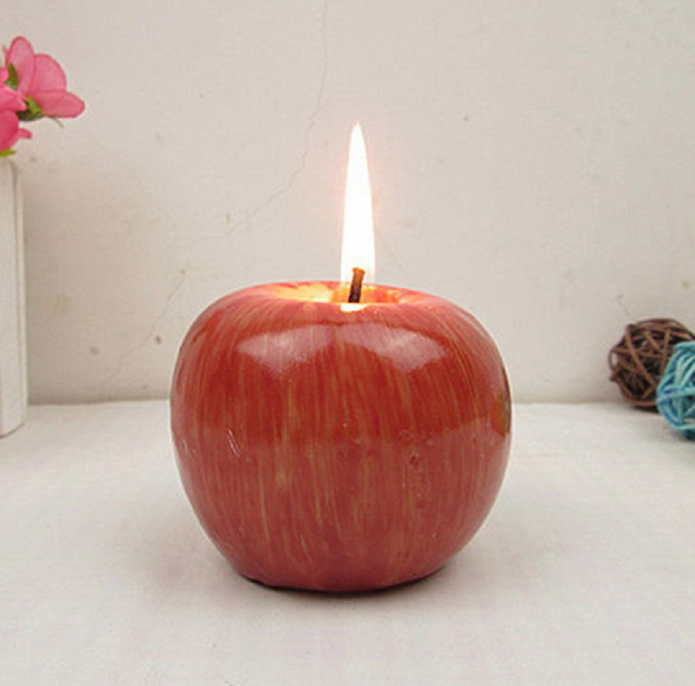 Red Apple Shaped Fragrant Candle Creative Romantic Wedding Birthday XMAS Party Home Decorations Artificial Apple Wax Candle(2PCS) Manxiu