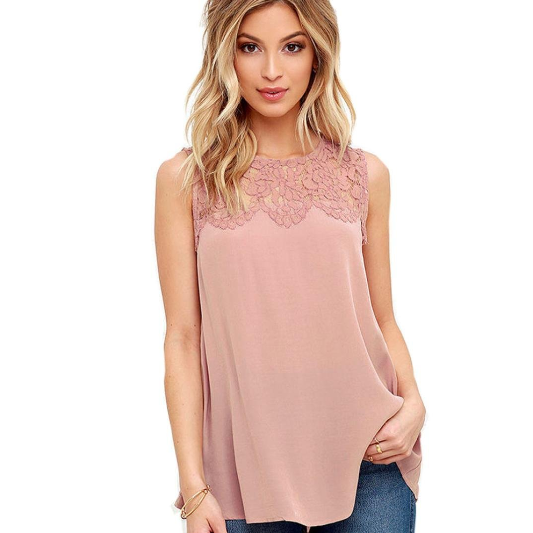 2018 New Women's Chiffon Lace Sleeveless Shirt Blouse Casual Tank Tops by E-Scenery