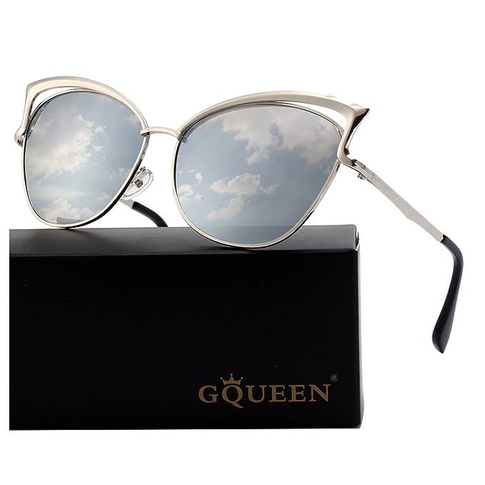 GQUEEN Occhiali da Sole Donna Oversized Montatura in Metallo a Specchio  Lenti Polarizzate Occhi di Gatto 36d8216c73