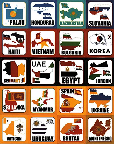 T&B Multi Countries Flags Territorial Maps Nations Patterns Face Stickers Travel Luggage Suitcase Laptop Waterproof Stickers Children's Room Decor Labels A4 5PCS