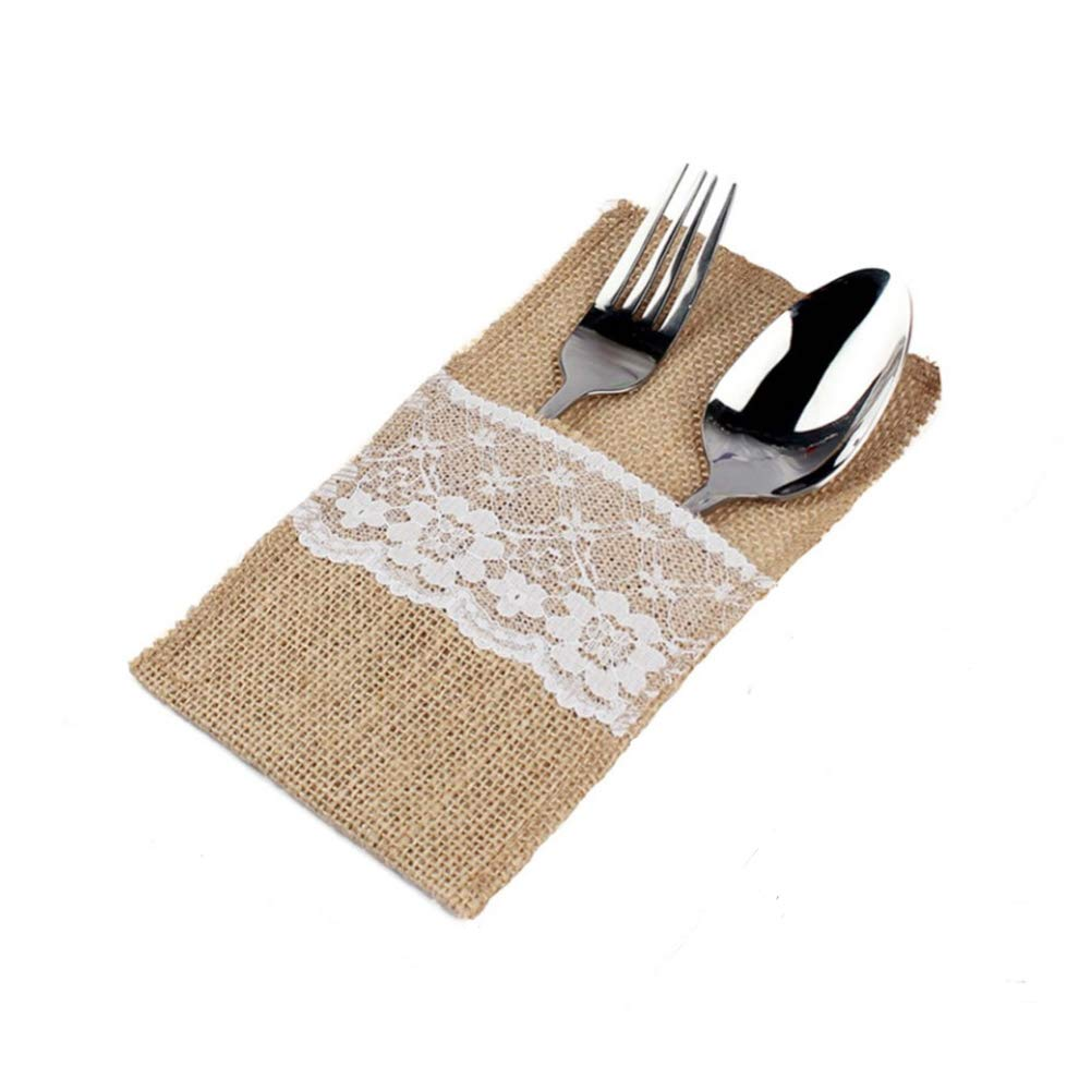 Natural Burlap Cutlery Holder Utensil Bag Lace for Wedding Table Decoration 4 x 8 inch 10PCS Generic