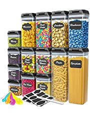 14 Piece Airtight Food Storage Containers with Lids - Ideal Kitchen Storage Containers with Lids, Airtight - High Quality BPA Free Plastic Pantry Containers for organization and storage - BONUS - Chalkboard Labels, Chalk and Measuring Spoons Included.