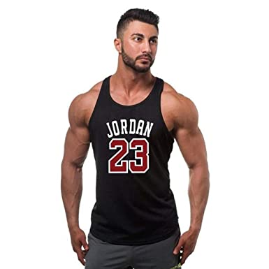 a3d1d730aba1a Amazon.com  Bodybuilding Stringer Tank top Jordan 23 Men Vest Shirt Men  Fitness Sleeveless  Clothing