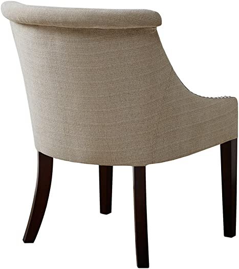 Madison Park Caitlyn Accent Chairs – Hardwood, Birch Wood, Faux Linen Living Room Chairs – Cream, Beige, Modern Contemporary Style Living Room Sofa Furniture – 1 Piece Rolled Back Bedroom Chairs Seats