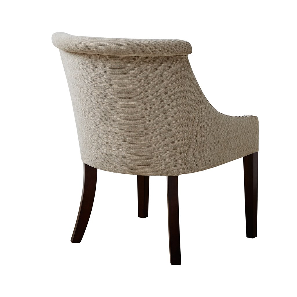Madison park caitlyn accent chairs hardwood birch wood faux linen living room chairs cream beige modern contemporary style living room sofa