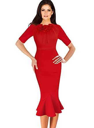 58ac76b7cef5b VfEmage Womens Elegant Vintage Cocktail Party Mermaid Midi Mid-Calf Dress  8923 RED S