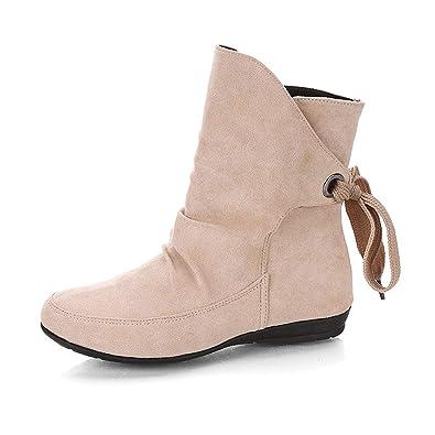 2018 Otoño Invierno Mujer Botas Martin tacón cuña Altos Moda Botines con Cordones Calzado Dama Zapatos Piel Bajos Talla Grande Botas Calzado de Trabajo: ...