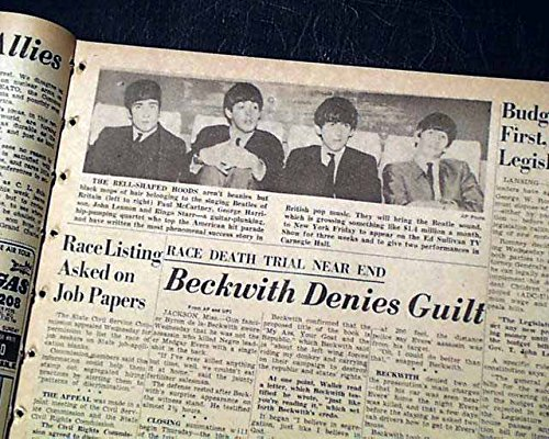 (Early THE BEATLES Beatlemania British Invasion to America PHOTO 1964 Newspaper THE DETROIT FREE PRESS, Michigan, Feb. 6, 1964)