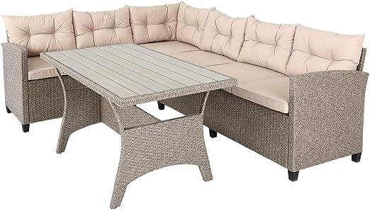 Casaria Conjunto muebles de Jardín 6 Personas Sofa de Esquina 340cm con mesa cojines Poliratán Jardín Terraza Patio Exterior: Amazon.es: Jardín