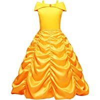 FYMNSI Kid Girls Off Shoulder Princess Belle Costume Halloween Christmas Dress Up Fancy Layered Birthday Cosplay Party Gown