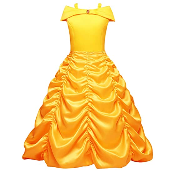e3f79a29b95a4 FYMNSI Kid Girl Off Shoulder Princess Belle Dress Halloween Xmas Fancy  Cosplay Costume