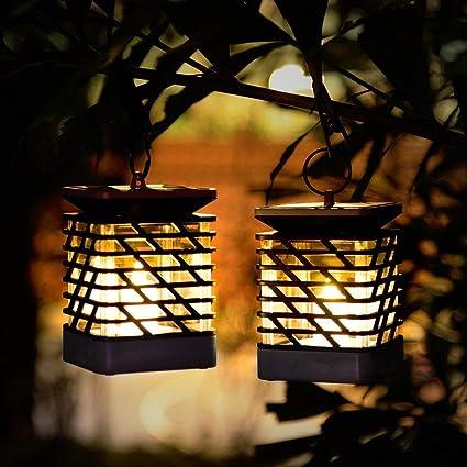 2 Pack Candle lights Solar Lanterns Lights,Solar Lanterns Dancing Flame Outdoor Hanging Lanterns Lights Decoration Lighting Solar Powered Waterproof Umbrella Lanterns Night Light Auto Sensor for Garden Patio Yard