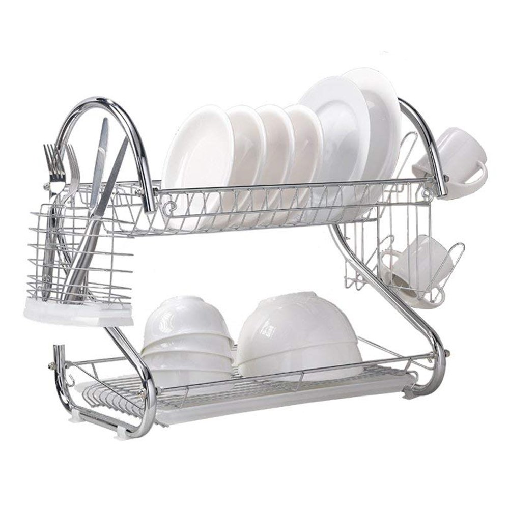 Wtape Modern Steel Rust Proof Kitchen In Sink Two Tier Dish Drying Rack, Dish Drainer