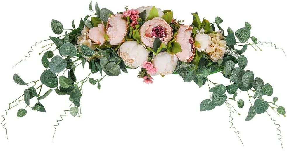 "HiiARug Artificial Peony Flower Swag, 31 Inch Decorative Swag with Fake Peonies Hydrangeas Eucalyptus Leaves for Home Room Garden Lintel Wedding Arch Party Decor (Pink, 31"")"